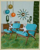 Mitte des Jahrhunderts moderne Eames Retro Limited Edition Print von Originalgemälde Chihuahua dänischen Stühlen