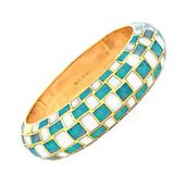 373d732b5 Gold Blue Coral Mother of Pearl Bangle Bracelet | (399) Breakfast at Tiffany  and Co. | Bangle bracelets, Gold bangle bracelet, Mother pearl