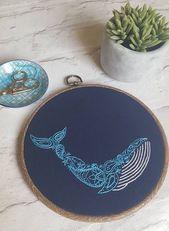 Package de broderie de baleine Paisley, Needlecraft Pack, Package de bricolage, broderie à la important, broderie moderne, Package Artwork Hoop, baleine bleue broderie