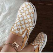 Custom Reflective Yellow Vans – louy v