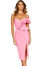 Pink Dusty Asymmetric Rüschen One Shoulder Midi-Kleid   – Prom Dresses