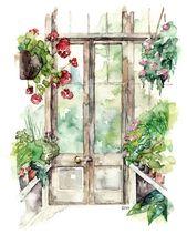 """Gewächshausmalung-Druck von Original Aquarellmalerei, """"Greenhouse"""", Botanical Print, Rotem Geranium, Garten, Wasserfarbe Blumen"""