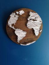 Weltkarte String Art