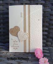 Photo of Stampin´Up eenvoudige trouwkaart gebruikte materialen en afmetingen onder: s …