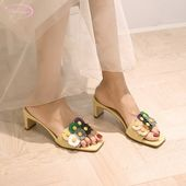 Japanese sweet style natural leather summer slipper fashion flower color matching beige yellow thick high heels women's shoes