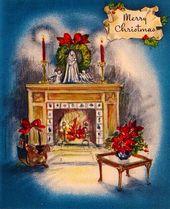 Photo of Vintage Grußkarte Weihnachten Interior Kamin O980