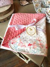 Floral Baby Decke ~ Koralle, Pink, Mint, Navy Minky Decke ~ Baby Mädchen Bettwäsche ~ Floral Kinderzimmer Dekor ~ Kinderzimmer Bettwäsche ~ Ready To Ship   – Selbst genäht