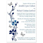 PHOTO Optional Wedding Invite – White, Blue, Silver Butterflies, Floral