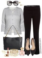 Plus Size Pearl Cardigan Work Outfit #love #instagood #photooftheday #fashion #…