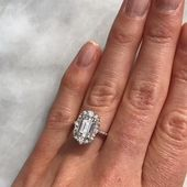 The antique-inspired Adeline halo engagement ring features a 1.75ct Charles & Co…