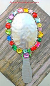 Cardboard jeweled mirror craft for kids – arts & crafts for pretend play… – DIY Selber Machen – DIY Selber Machen