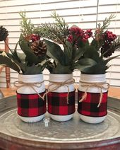 Buffalo Plaid Mason Jars, Farmhouse Mason Jars, Buffalo Plaid Christmas Decor, Farmhouse Decor, Chri