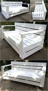 50 Cool Ideas for Wood Pallets Upcycling #sofaauspalletten Here is another idea for creating the bench on wheels, the bench is painted white and it wi…