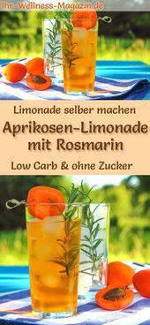 Machen Sie selbst Aprikosenlimonade mit Rosmarin – kohlenhydratarm und ohne Zucker   – Drinks, Cocktails und Erfrischungen