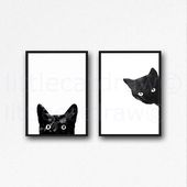 Black Cat Print Set Of 2 Watercolor Painting Print Cat Lover Gift Cat Decor Cat Art Bedroom Decor Wall Art Prints Home Decor