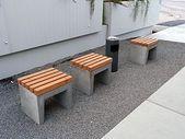 Garden bench made of concrete build wood