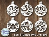CHRISTMAS BALLS in SVG Pack 1, Christmas decorations, Christmas ornamet stencil, Christmas decorations, Svg information for Cricut and Silhouette