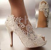 """su.cheny 3 """"4"""" hiel satijn wit ivoor kant parels open teen bruiloft bruids schoenen …   – uncategorized"""
