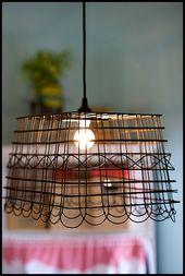 Creative Co-op Upside Down Egg Baskets Chandelier Wood Hanging Basket Lamp
