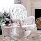 Country White Rocking Chair En 2020 Mecedoras Blancas Muebles De Mimbre Al Aire Libre Mimbre Blanco