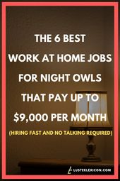THE 6 BEST WORK AT HOME JOBS FOR NIGHT OWLS THAT PAY UP TO $9000 PER MONTH HIRING FAST