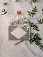 Grün und GoldLuxory Hochzeits-Einladungs-Eukalyptus-Grün lädt perfekt für Griechenland-Bestimmungsort-Hochzeit mit Goldfolienbeschriftung ein   – Invitation Ideas