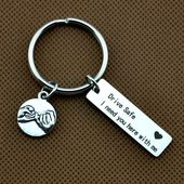 Pinkie swear Key Ring,Drive safe, i need you here with me (with heart) keychain – drive safe -travel -driver -trip -loved one – special gif