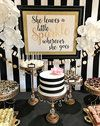 Kate Spade Inspired Dessert Table // gold ball base chandelier cake stands creat…