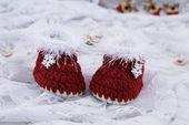 Santa hat Christmas booties, Crochet baby set Baby first christmas Newborn Christmas – Products