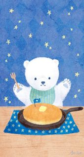 パンケーキを食べているシロクマの壁紙です。   – iphone  wallpaper