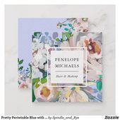 Pretty Periwinkle Blue with Watercolor Floral Square Business Card | Zazzle.com