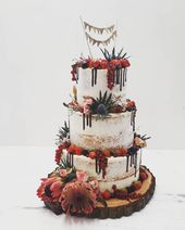 "Photo of 7 Sachen Manufaktur on Instagram: ""#nakedcake #weddingcake #hochzeitstorte #dripp #wimpelkette #baumstammplatte"""