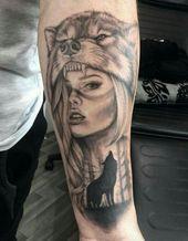 Bild Ergebnis für Indianerin und Wolf Tattoo – Projekte zum Ausprobieren – #Bild #Indian …