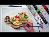 (14) Tutorial de pintura de acuarela de cupcakes navideños TIEMPO REAL – YouTube   – ART – WATERCOLOR – STILL LIFE