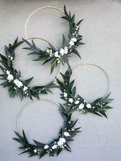 Cerceaux de mariage avec la verdure et les fleurs mariée douche de douche de bébé douche Backdrop Photo Backdrop couronne florale grand cerceau en bois pour la décoration