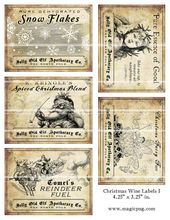 Antique Christmas drank wine labels 4.25 x 3.25 digital collage sheet decorations for your holiday dinner parties printable cheer reindeer