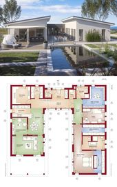 Moderner Luxus Bungalow mit Pultdach Architektur & Innenhof, Grundriss 6 Zimmer … – HausbauDirekt