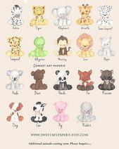 Baby Animal Prints, Safari-Kinderzimmer-Kunst – Aquarell – Kinderzimmer Dekor – Satz von 4 – Drucke – Zoo-Tiere, Wandkunst, Tierbabys, Kinderzimmer Dekor