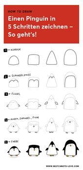 Wolltest du schon immer wissen, wie man einen Pinguin zeichnet? Hier findest du die perfekte Zeichenanleitung dazu: Einen Pinguin in fünf Schritten z…