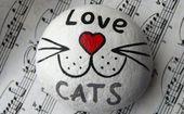 Love Cats Hand Painted Stone , Cats Lover Gift, Painted Rocks Animals, Stone Keepsake, Rock Art, Cat Art, Stones Charm, Acrylic Art Object – pretty things