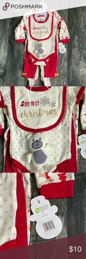 My First Christmas 5 Piece Set Contains 1 My First Christmas bib with teddy, 1 s… – My Posh Picks