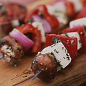 Marinated Halloumi Cheese Kebabs with Herbs and Fresh Mexican Tomato Salsa