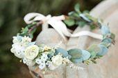 White or blush pink sage eucalyptus flower crown, Side Flower crown, wedding flower crown, bridal crown, bohemian crown, dainty floral crown – Wedding