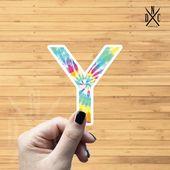 """Letter """"Y"""" Tie Dye Vinyl Sticker, Best Friend Gift, Laptop Decals, Name Stickers, Monogram, Macbook"""