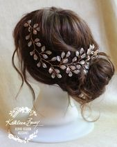 Bridal Leaf Hair Vine Rose Gold Wedding Hair Accessories STYLE: Jenneth