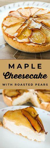 Ahornkäsekuchen mit gebratenen Birnen vom Lebensmittel Charlatan. Dieses No Bake Maple …