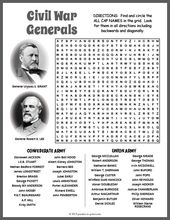 Free Printable Civil War Generals Word Search