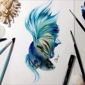 """Like 4,240 times, 57 comments - Dê (@deivi_arts) on Instagram: """"BETTA 🌊 _ _ _ _ _ _ _ _ _ _ _ #draw #drawing #desenho #art #arte"""