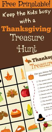 Beschäftige die Kinder mit dieser lustigen, kostenlosen Erntedank-Schatzsuche, während du … – Thanksgiving Recipes