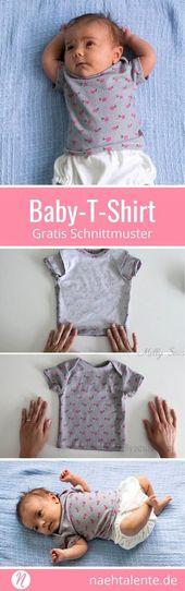 Freebook für ein Baby-T-Shirt. 0 – 3 Monate. Geeignet für leichte und mittelsc…